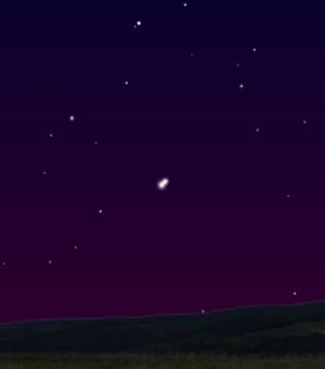 7월 1일 저녁 서쪽하늘을 시뮬레이션한 모습이다. 아래에 가까이 붙어있는 두 개의 행성 중 왼쪽이 금성, 오른쪽이 목성이다. - (주)동아사이언스 제공
